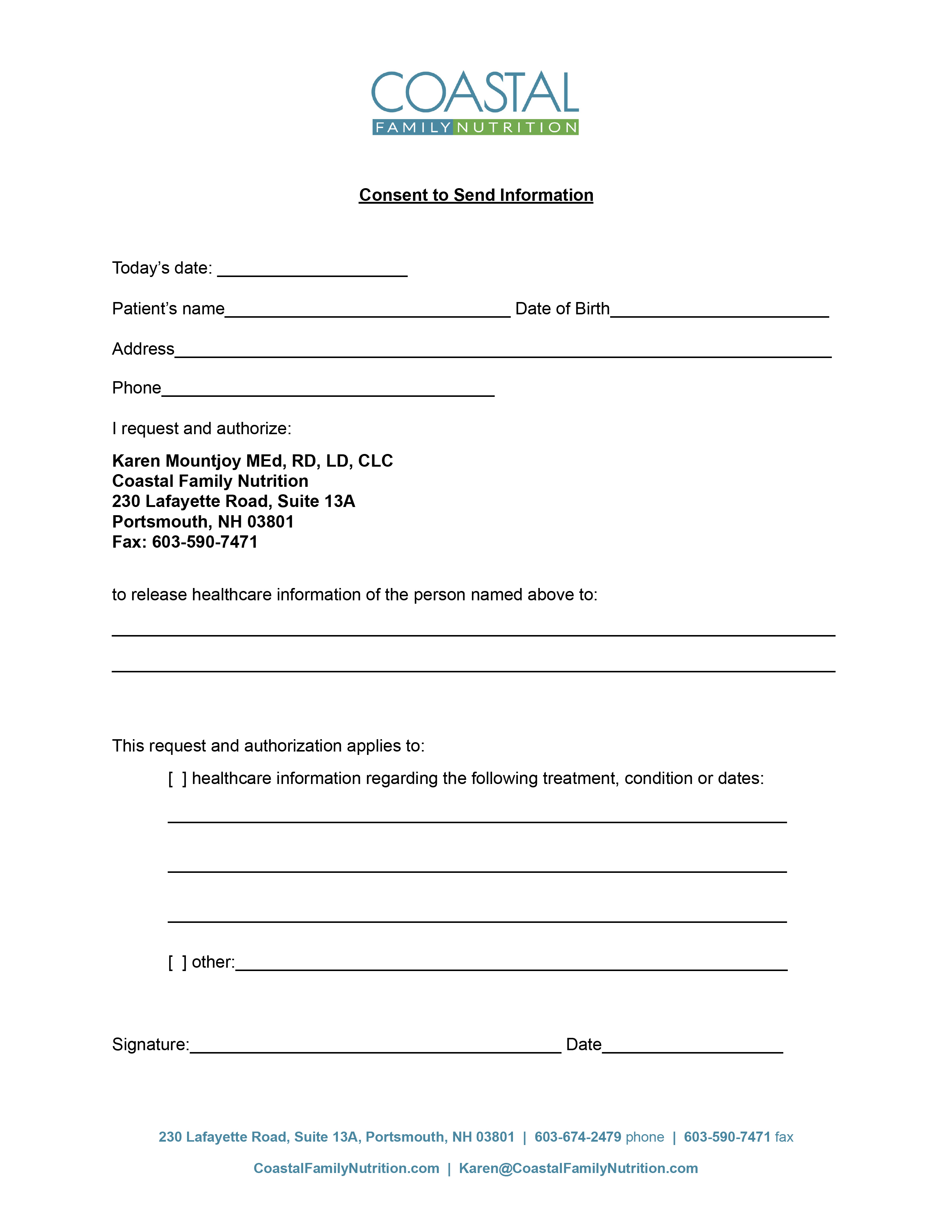 Consent to Send Information